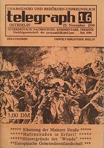 telegraph 16/1990 vom 23. November 1990, mit Sonderteil Räumung der Mainzer Straße