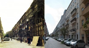 Blick in die Mainzer-Straße, links: 01. Juni 1990, rechts: 19. Mai 2012
