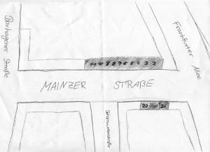 Zeichnung: Die Besetzten Häuser der Mainzer Straße