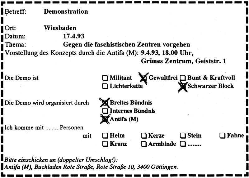 """Satire von Gegnern der Antifa (M)/AA-B0 aus """"Göttinger Drucksache"""" Nr. 101"""