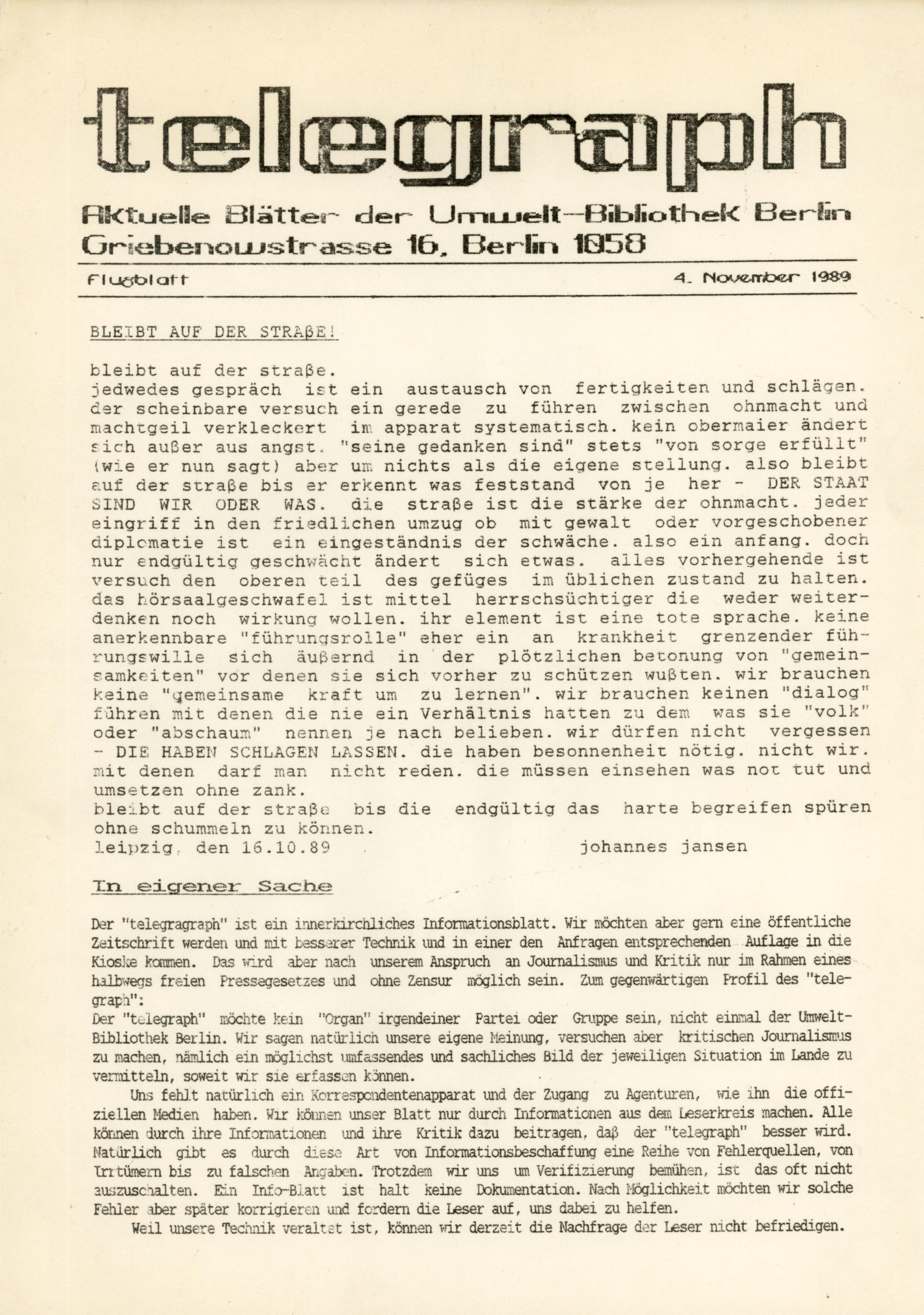 telegraph-Flugblatt - 04.November 1989: Bleibt auf der Straße!