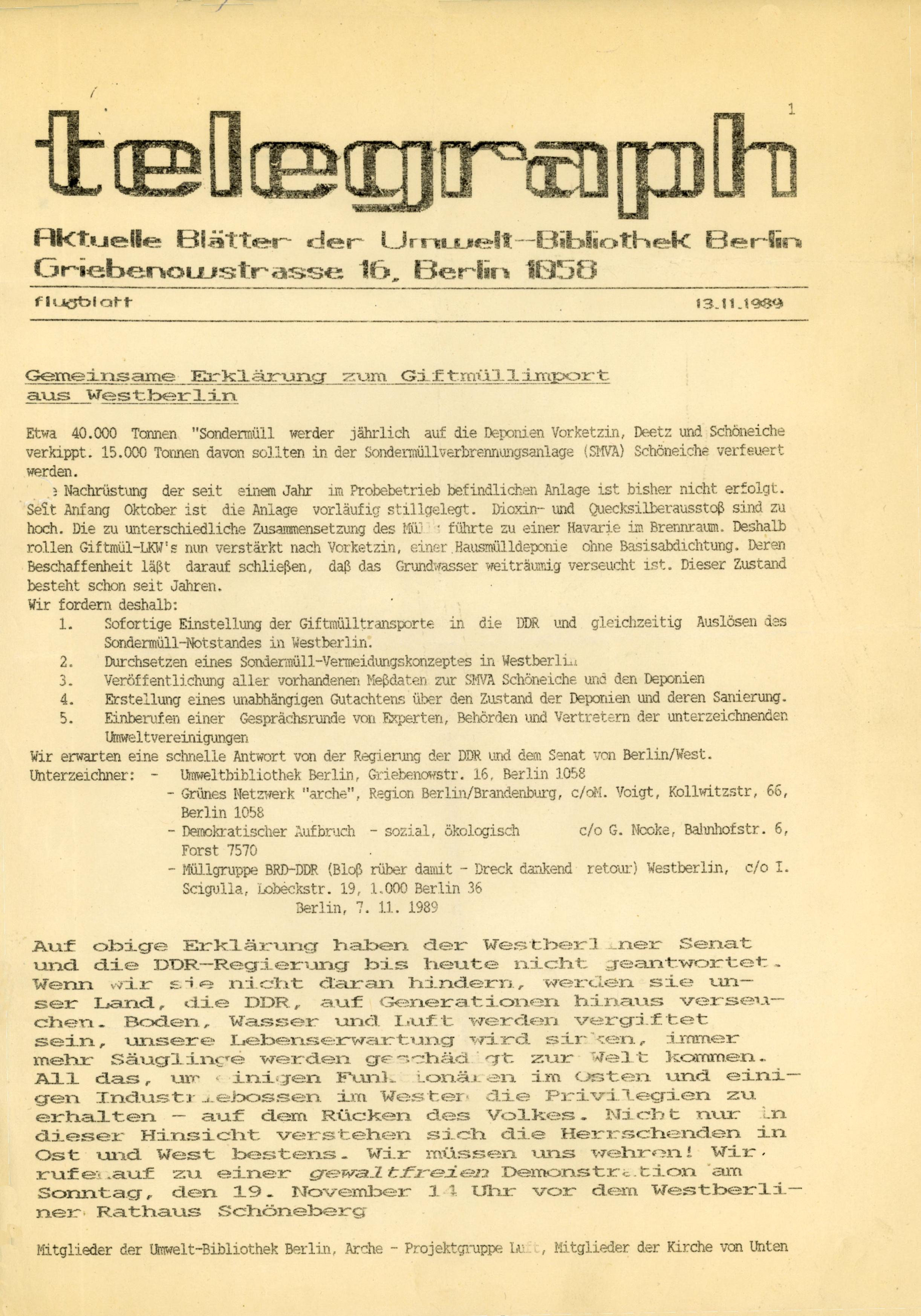 telegraph Flugblatt – 13. November 1989: Erklärung zum Giftmüllexport aus Westberlin