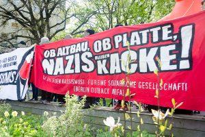 Kundgebung gegen einen NPD-Aufmarsch am 1. Mai 2016 in Berlin Weißensee, Foto: AG TusT/telegraph
