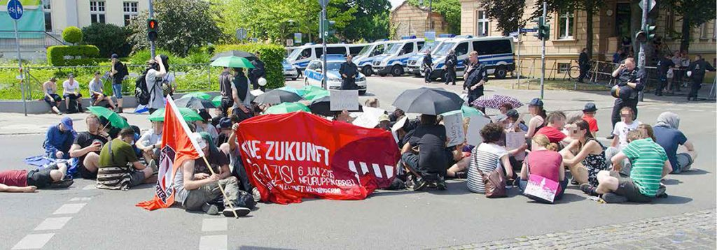 Antifaschistische Blockade in Neuruppin, am 6.6.2016, Foto: AG TusT/telegraph