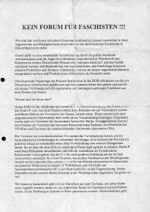 Flugblatt Antifa-Ostberlin/DDR, vom 12. Juli 1990