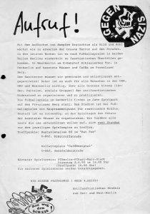 Flugblatt der Antifa Ostberlin/DDR vom 3. April 1990