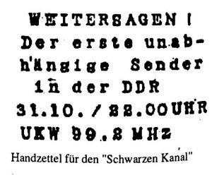 Handzettel für den Schwarzer Kanal