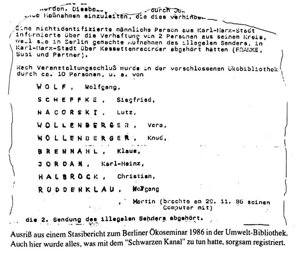 Schwarzer Kanal - Stasitbericht