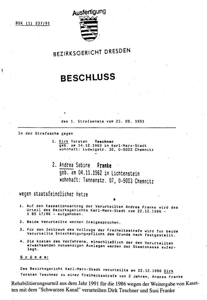 Schwarzer Kanal - Beschluss