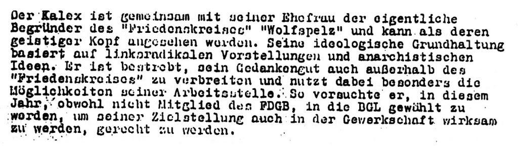 SED-Intern-Information über Roman Kalex