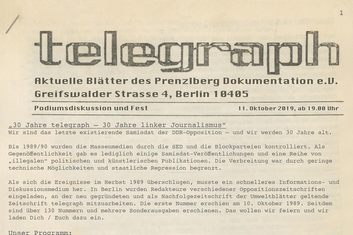 30 Jahre telegraph - 30 Jahre linker Journalismus