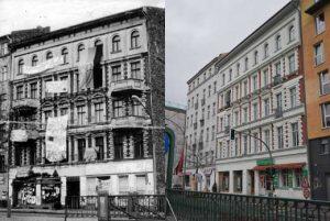 Das Besetzte Haus Schoenhauser Allee 20 - links: Dezember 1989, rechts: Mai 2012; Archiv telegraph